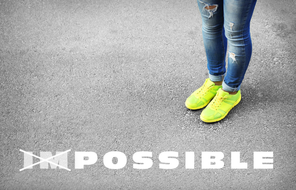 Changing the word impossible to possible on asphalt road with fe